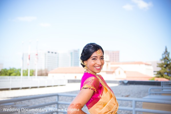 Charming Indian bride on her wedding ceremony fashion look.