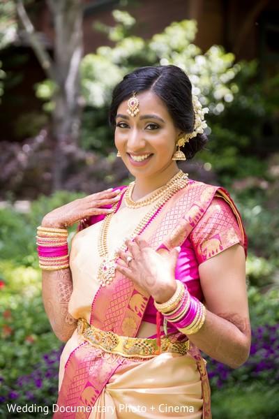 Glamorous Indian bride's portrait.