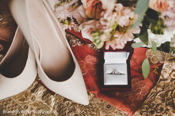 Marvelous Indian wedding ceremony bridal shoes and engagement ring.