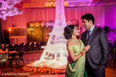 Gorgeous Indian bride and groom at their wedding reception.