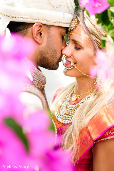 Indian bride and groom closeup capture.