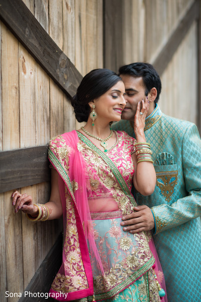 indian bride and groom,indian wedding sangeet fashion