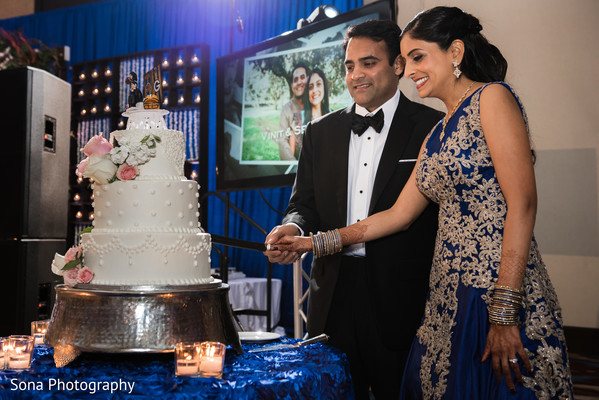 indian bride and groom,indian wedding reception fashion,indian wedding cake