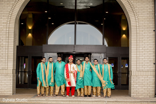 Indian wedding portrait groomsmen and groom