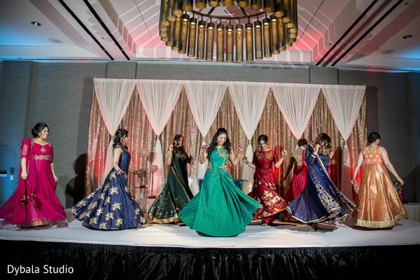 Upbeat indian wedding reception dance performance
