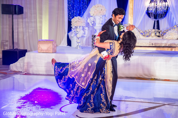 Romantic Indian newly weds first dance.