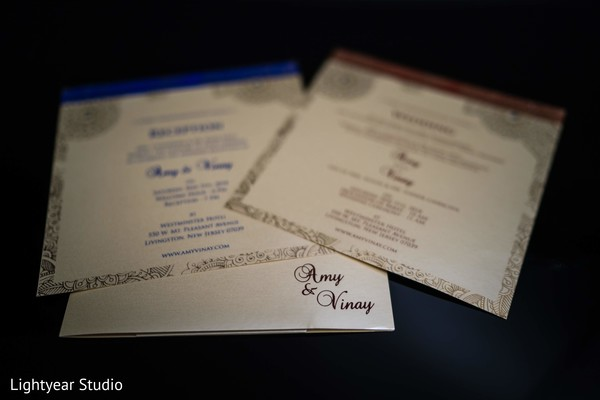 Closeup capture of Indian wedding Invitations.