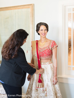 Indian bride getting ready for her wedding ceremony.