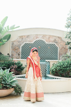 Marvelous Indian bride posing outdoors.