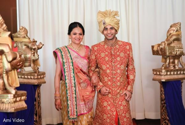 Indian groom entering the wedding ceremony capture.