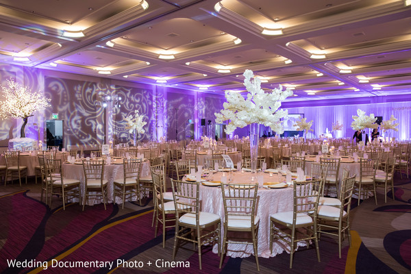 Marvelous table set up for Indian wedding reception.