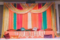 Wonderful Indian pre-wedding sangeet mandap decor.