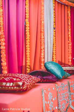 Colorful Indian pre-wedding sangeet decoration.