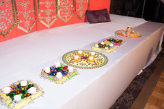 Sangeet mandap decorations and ritual items.