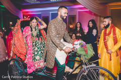 Stunning Indian bride and groom at sangeet capture.