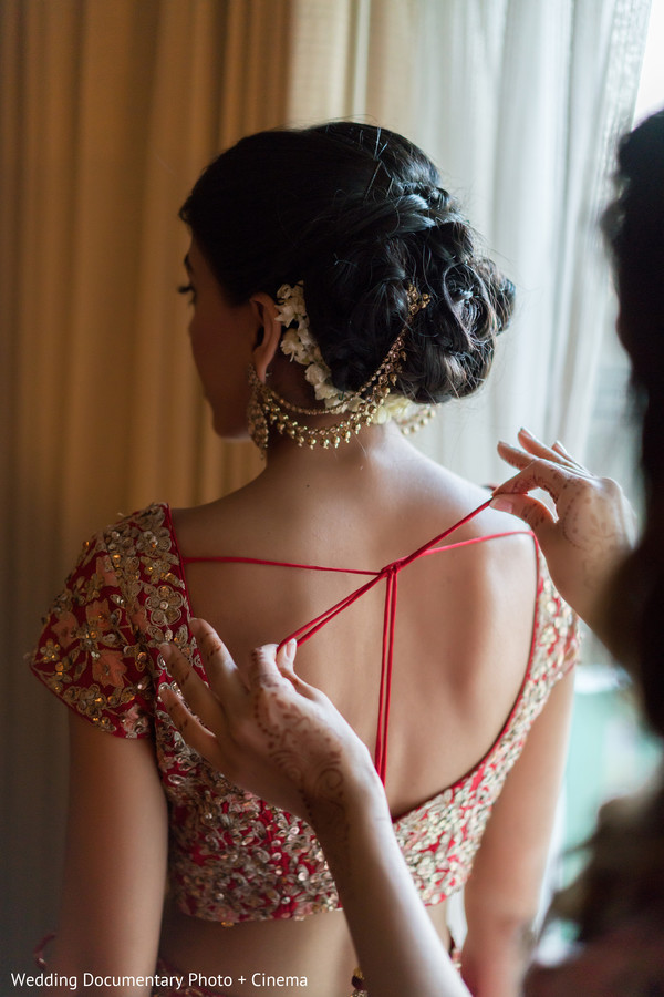 Indian bride with her Open-Shirt Lengha.