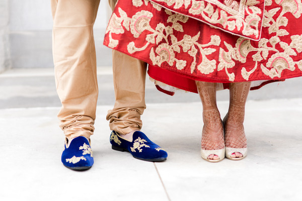 Indian bride and groom's shoes capture