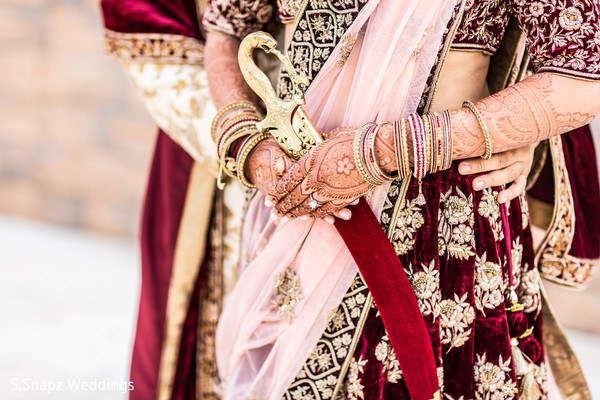 Indian bride and groom closeup capture.