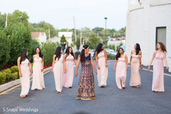 Glamorous Indian bride and bridesmaids reception outfits.