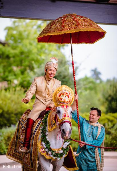 Charming Indian groom on baraat horse capture.