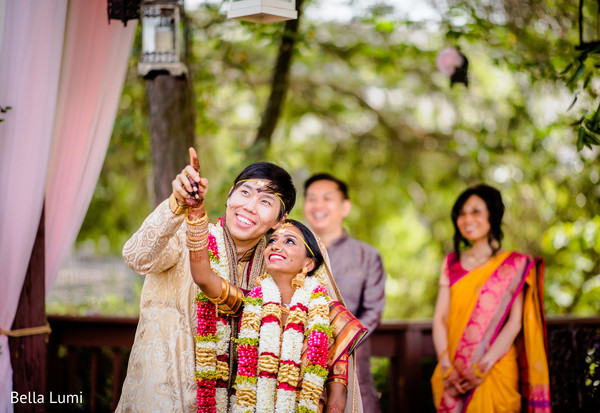 Dazzling Indian bride and groom at their wedding ceremony.