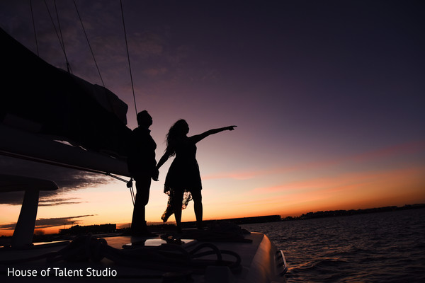 Indian couple's silhouette