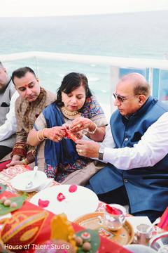 Indian groom during pre-wedding ritual