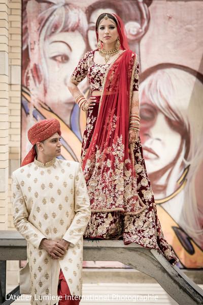 Ravishing indian couple's wedding attire