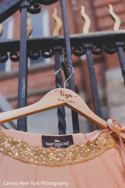 Personalized Indian bride's dress hanger.
