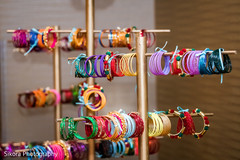 Colorful Indian wedding bangles as favors for the sangeet celebration.
