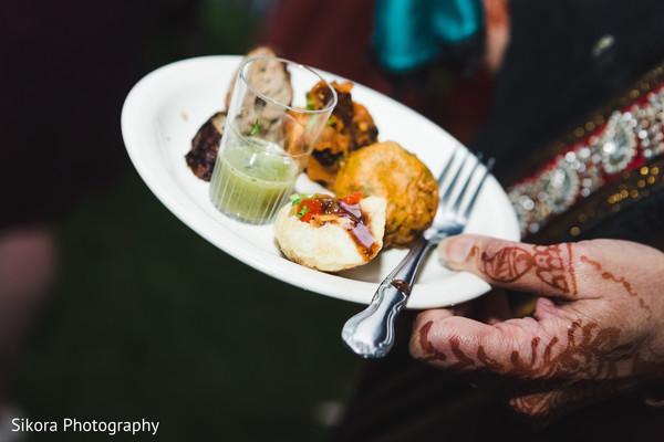 Indian wedding reception appetizer closeup capture.
