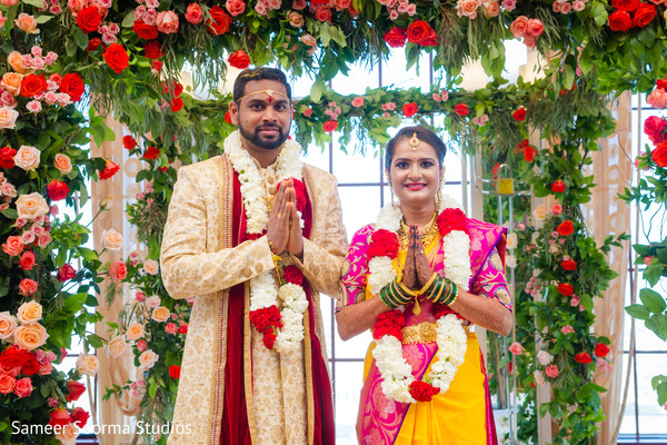 Indian couple at their wedding ceremony.