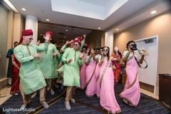 indian wedding baraat,baraat procession,indian bridesmaids and groomsmen