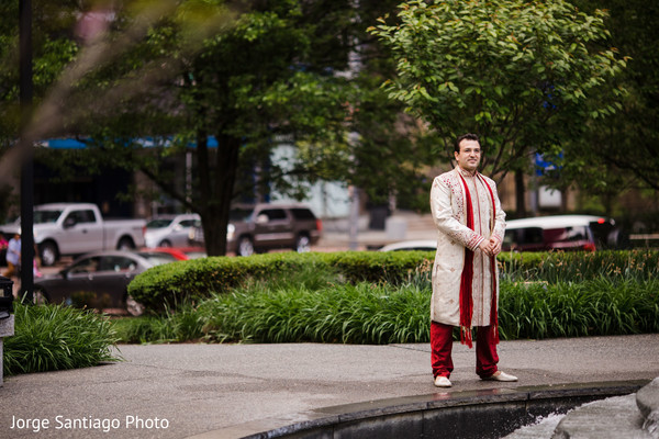 Joyful Indian groom on his wedding ceremony sherwani.