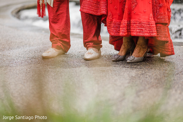 Marvelous Indian bride and groom's shoes capture.