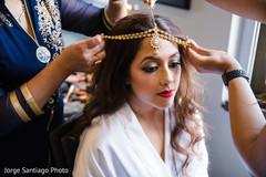 indian bride,indian bride's tikka,indian bride's hair and makeup