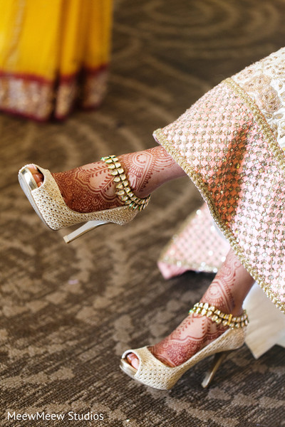 Indian bride wearing fabulous heels