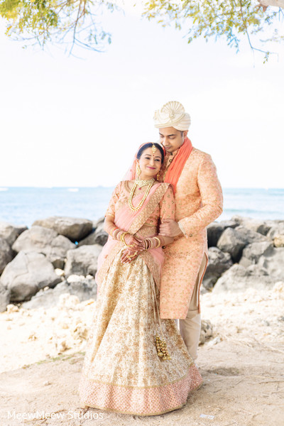 Romantic indian couple by the beach