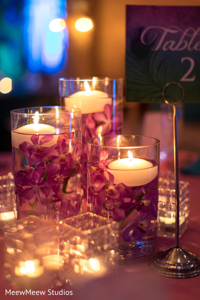 Romantic indian wedding table centerpieces
