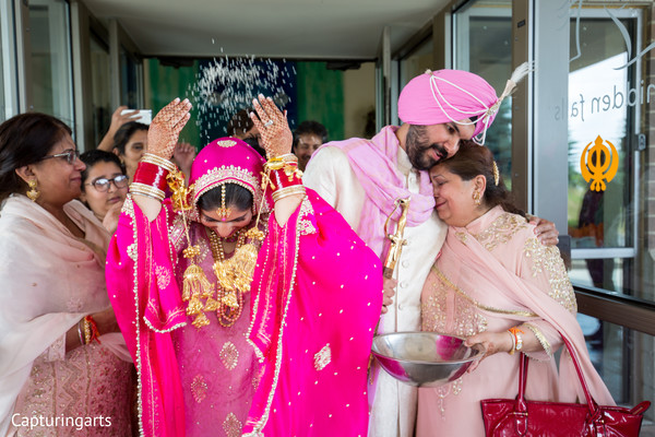 Indian newlyweds leaving the ceremony