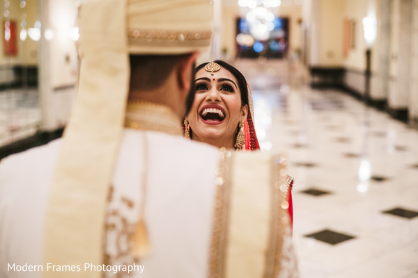 Indian bride having a great time with her soon to be husband