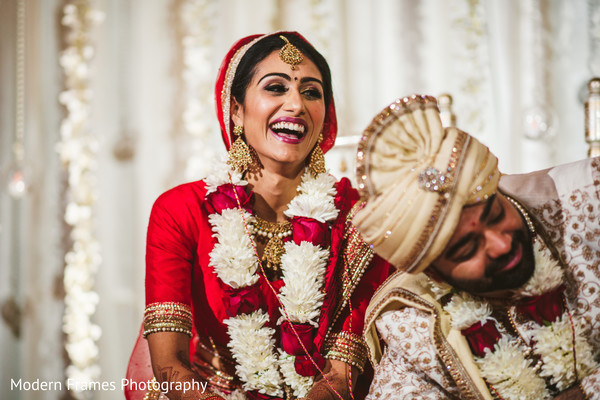 Indian bride enjoying her wedding ceremony