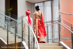 red lengha,red bridal lengha,first look