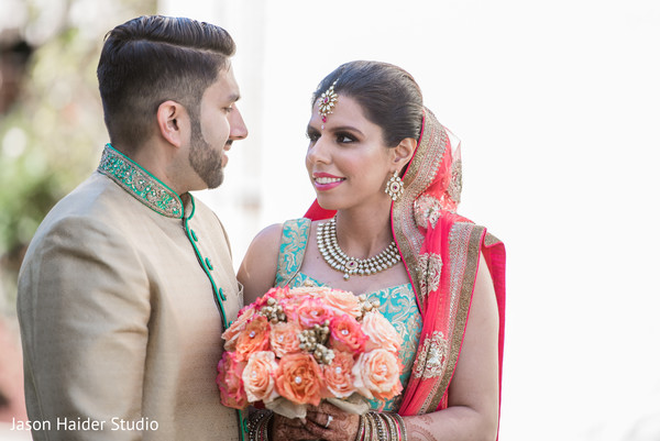 indian wedding gallery,first look photography,indian bride and groom,bridal bouquet
