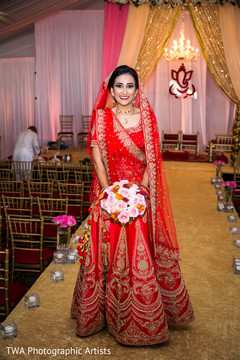 red lengha,red and gold lengha,bridal bouquet