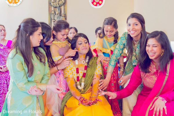 Indian bride pithi ceremony