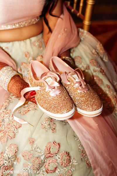 Lovely indian bride sparkling shoes