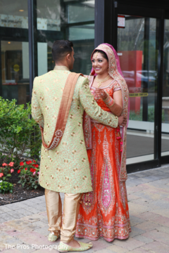 Romantic indian couple having their first look