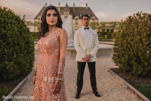 Ravishing indian couple's wedding reception attire