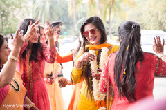 Indian bride's joyful entrance